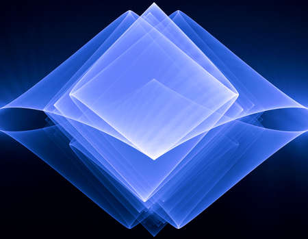 apophysis: Abstract glowing blue layered rhombus on a black background Stock Photo