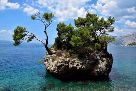 Brela, Croatia. The rock island in the sea.