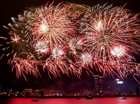Gorgeous fire show. Exciting red and rose toned firework splashes exploding in the night. Banco de Imagens