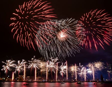 Gorgeous fire show. Exciting red and rose toned firework splashes exploding in the night. Banco de Imagens - 145747829