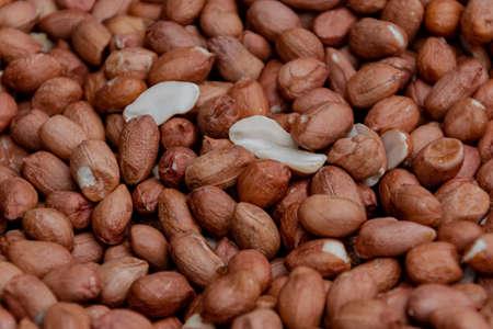 Close up of fried peanuts. Cooking process. Banco de Imagens