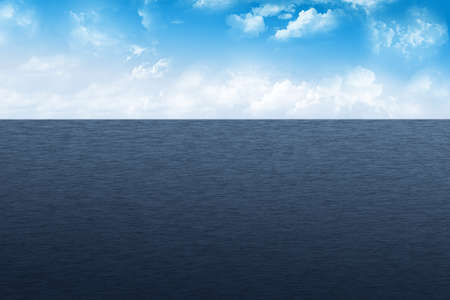 Seascape illustration with cloudy sky and blue water.