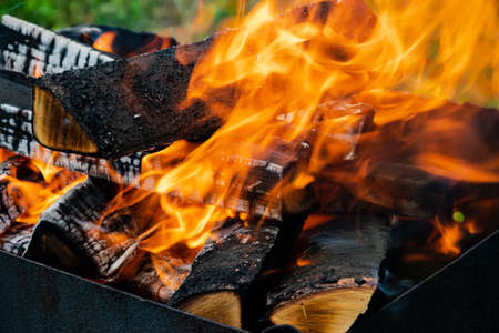 Burning wood in a barbecue grill. Open flames. Cooking outdoors.