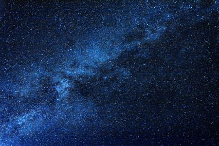Breathtaking blue clear night sky with milky way and huge amount of stars. Stock Photo