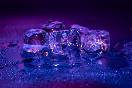 Melting frozen ice cubes illuminated with gradient coloured LED light in the dark.