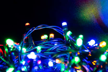Close up of colourful led flashlights for christmas and other events.