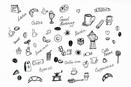 Drawing coffee set in black and white. Coffee doodle icons Stock Photo
