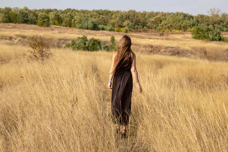 Beautiful young dark haired woman in black dress walk in field. Pretty girl outdoor in the field enjoy with freedom