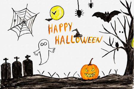 Happy Hallowen card by watercolors. Watercolor illustration with flying bats, pumpkin, ghost, tree and spiders on white