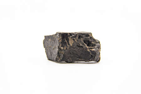 Natural black coal isolated in white background. Dirty coal stones.
