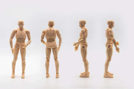 Set of Male dolls mannequin isolated on light background. Mannequin of man shows from four sides