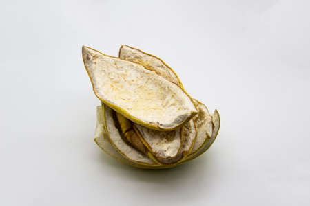 A dry peels from the fruit pomelo isolated in the white background