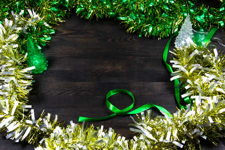 Background for Christmas and New Year holiday with copy space. Tinsel for the holidays