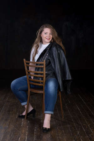 brown haired: Stunning plus size red head, long beautiful hair, positive energy, sweetheart, big girl, late teen girl, enigmatic, happy and sweet young female Stock Photo
