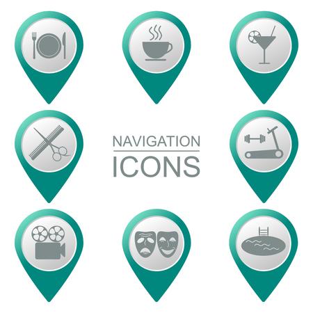places: Navigation icons. Bulk. Silhouette. Public places. vector illustration