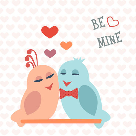 mine: Card for Valentines Day. Birds. Heart. Be mine. Vector illustration