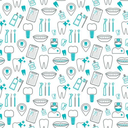 Dental seamless pattern. Linear icons. Flat design. Vector illustration Illustration