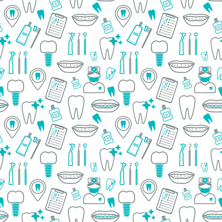 Dental seamless pattern. Linear icons. Flat design. Vector illustration Vettoriali