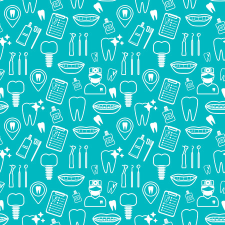 Dental seamless pattern. White linear icons. Blue backdrop Flat design. Vector illustration Illusztráció