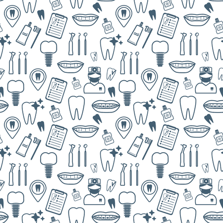 tooth icon: Dental seamless pattern. Dark blue linear icons. Flat design. Vector illustration