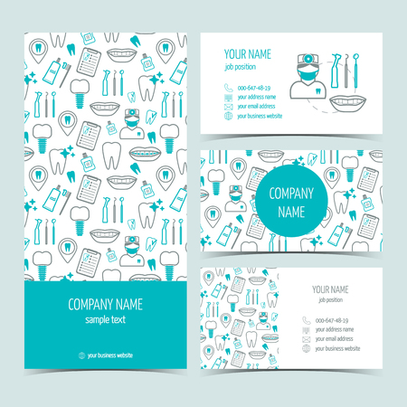 Conjunto de volante, un folleto y tarjetas de visita para la clínica dental. Conjunto de productos promocionales. Diseño plano. Ilustración vectorial Foto de archivo - 46361469
