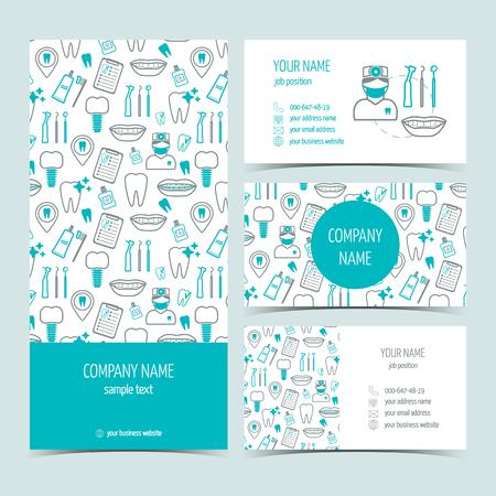 limpieza: Conjunto de volante, un folleto y tarjetas de visita para la clínica dental. Conjunto de productos promocionales. Diseño plano. Ilustración vectorial