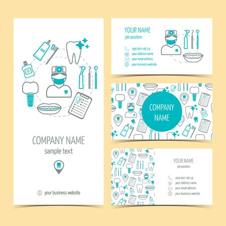 dentista: Conjunto de volante, un folleto y tarjetas de visita para la clínica dental. Cuidado dental. Conjunto de productos promocionales. Diseño plano. Ilustración vectorial