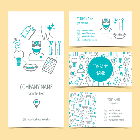 medical equipment: Set of flyer, brochure and business cards for dental clinic. Dental care. Set of promotional products. Flat design. Vector illustration