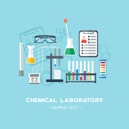 The chemical laboratory background, banner, cover. Flat design. Chemical glassware.  Vector illustration