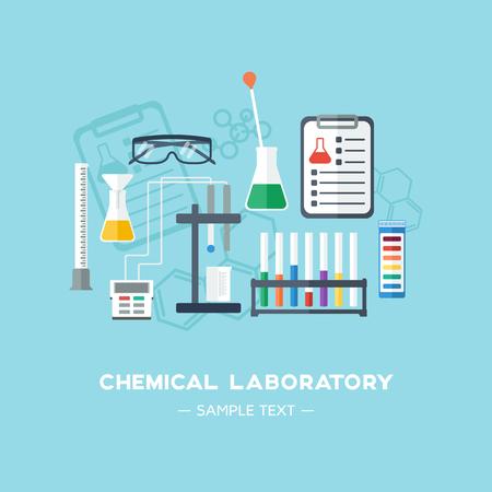 Lo sfondo laboratorio chimico, banner, copertura. Design piatto. Cristalleria chimica. Illustrazione vettoriale Archivio Fotografico - 46361472