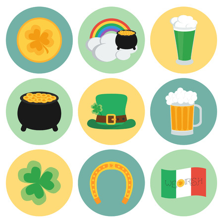 17 of march: A set of flat icons on St. Patricks Day. vector illustration