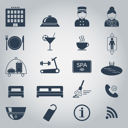 hotel room door: Hotel services icons. Silhouette. Isolated. vector illustration