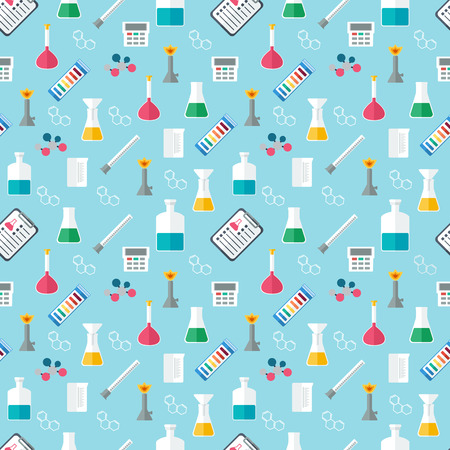 reagents: Seamless chemical pattern. Chemical glassware and reagents. Flat design. Vector illustration