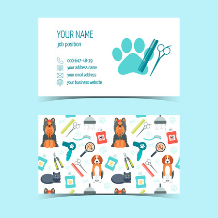 promotional products: Set of business cards for animal grooming. Promotional products. Flat design. Vector illustration