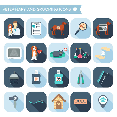 Set of veterinary and grooming icons with names. Flat design with shadows. Vector illustration Ilustração