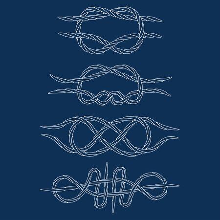 contours: Knots. Contours. Doodle. White. vector illustration
