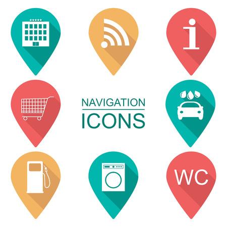 Set of navigation icons. Flat design. Scope of services. vector illustration Ilustração Vetorial