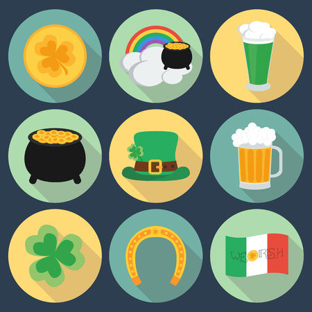 17 march: Set of icons on St. Patricks Day. Flat style. Shadow. vector illustration