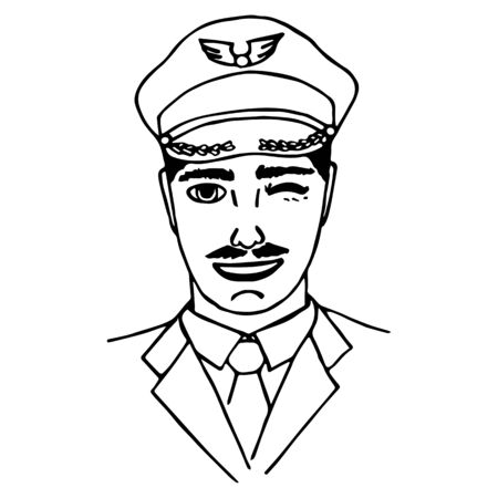 handdrawn: Hand-drawn pilot. Doodle style. Isolated. vector illustration