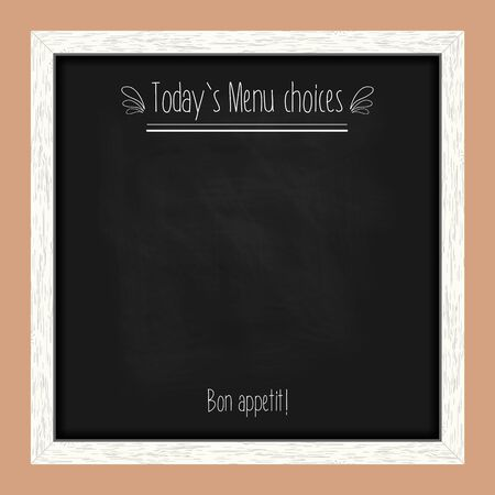wooden frame: Square menu chalkboard for cafes and restaurants with an inscription. Realistic wooden frame. Vector illustration Illustration