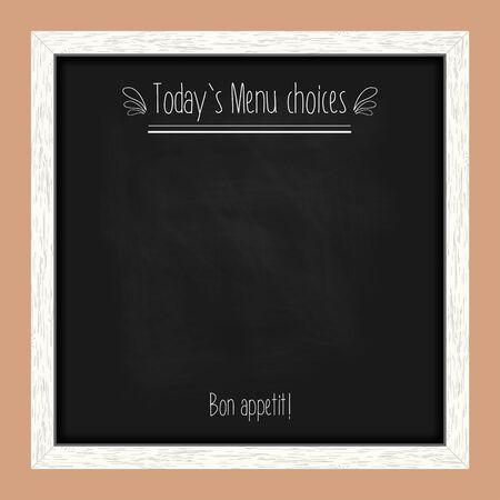 chalk frame: Square menu chalkboard for cafes and restaurants with an inscription. Realistic wooden frame. Vector illustration Illustration