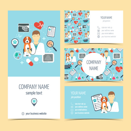 pet care: Set of flyer, brochure and business cards for vet clinic. Pet care. Set of promotional products. Flat design. Vector illustration Illustration