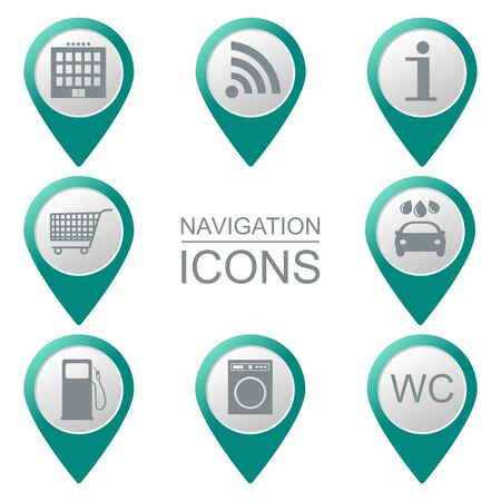 volumetric: Navigation icons. Silhouette. Service industries. Volumetric. Vector illustration