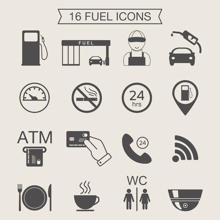 Gas station icons. Fuel icons. Monochrome. Vector illustration Illustration