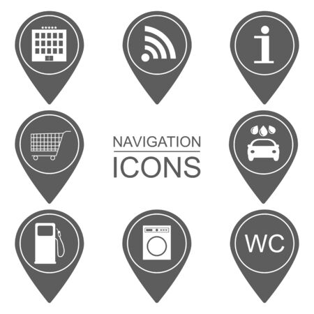 reference point: Set of navigation icons. Outlined icons. Scope of services. vector illustration Illustration