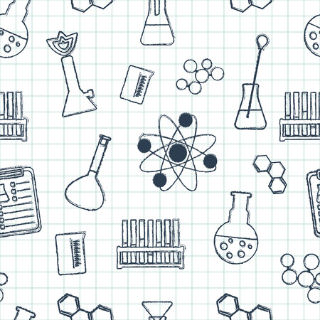 reagents: Seamless chemical pattern. Chemical glassware and reagents. Hand-drawn elements. Flat design. Vector illustration