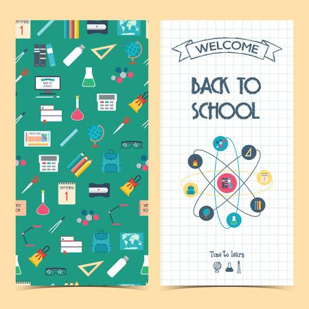 bilateral: Bilateral vertical school flyer, brochure, banner. Back to school. Seamless background. Vector� illustration� Illustration