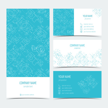 leaflets: Set of engineering business cards, flyers, leaflets with the drawings. Blue color. Vector illustration Illustration