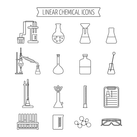 chemistry lab: Set of linear chemical icons. Flat design. Isolated. Vector illustration