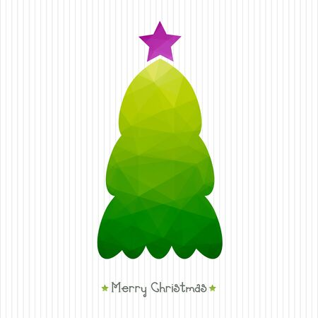 corrugated cardboard: Christmas card. Polygonal triangular Christmas tree. Corrugated cardboard structure. Typography. vector illustration